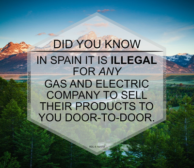 GAS AND ELECTRIC COMPANIES CANNOT SELL DOOR TO DOOR IN SPAIN